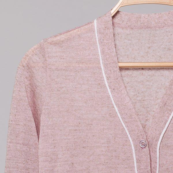 Lilian V-neck linen cardigan light pink
