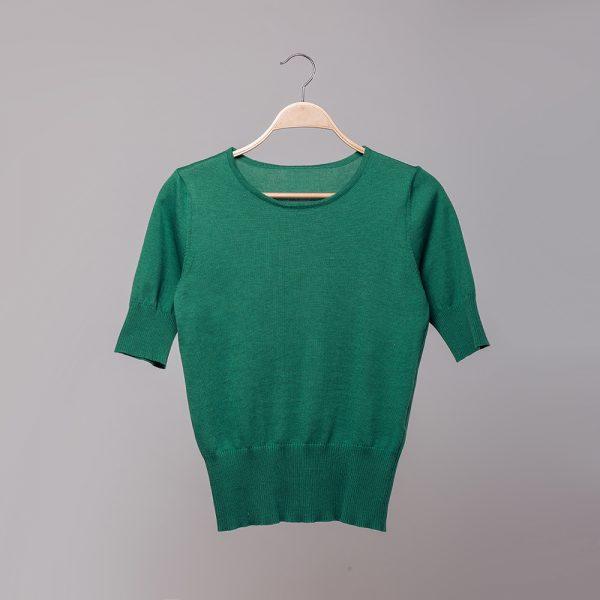 Frida lühikeste varrukateg roheline kudum siidiga