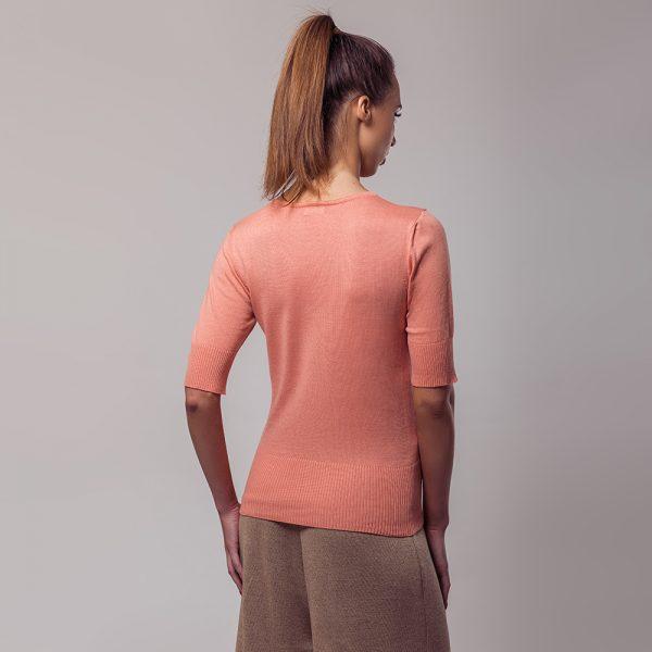 Frida lühikeste varrukateg roosa kudum siidiga