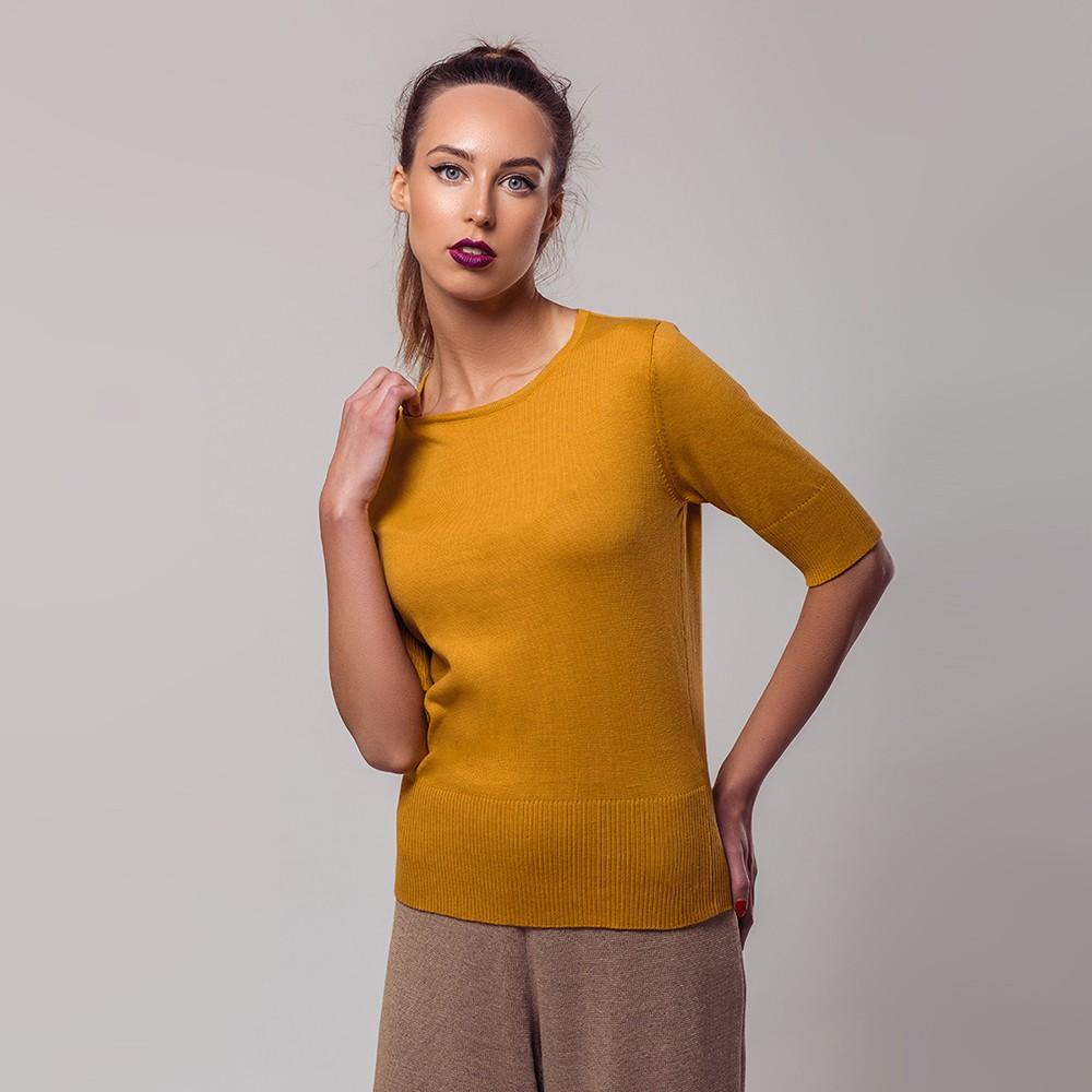 Frida lühikeste varrukateg kollane kudum siidiga