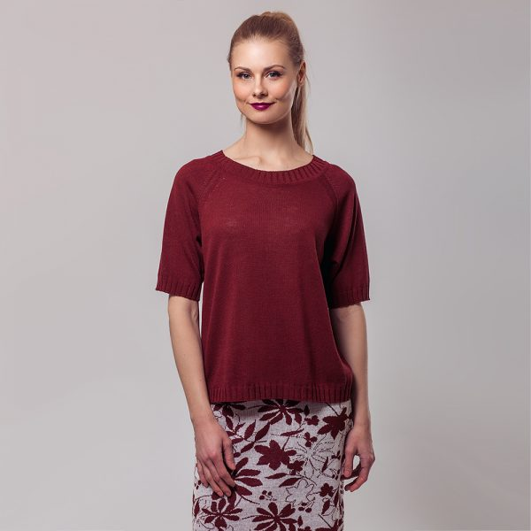 Molly O-neck linen short sleeve bordo top
