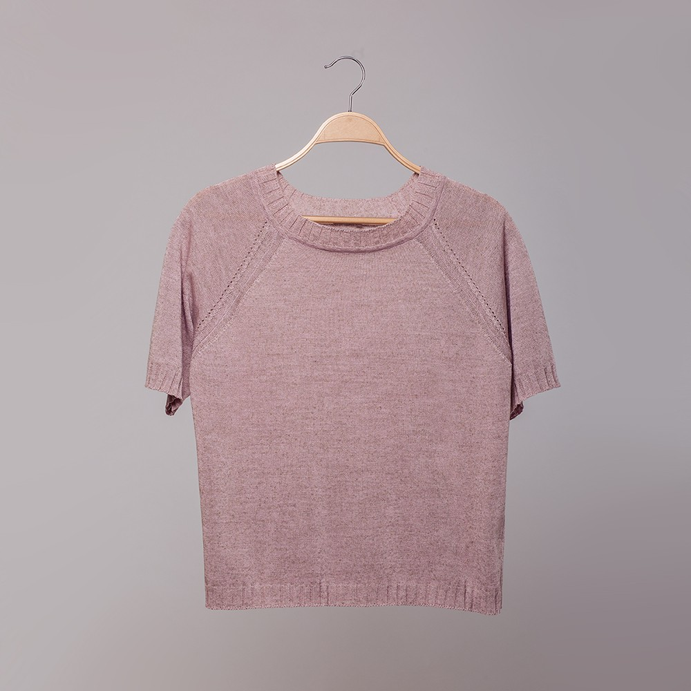 Molly O-neck linen short sleeve light pink top