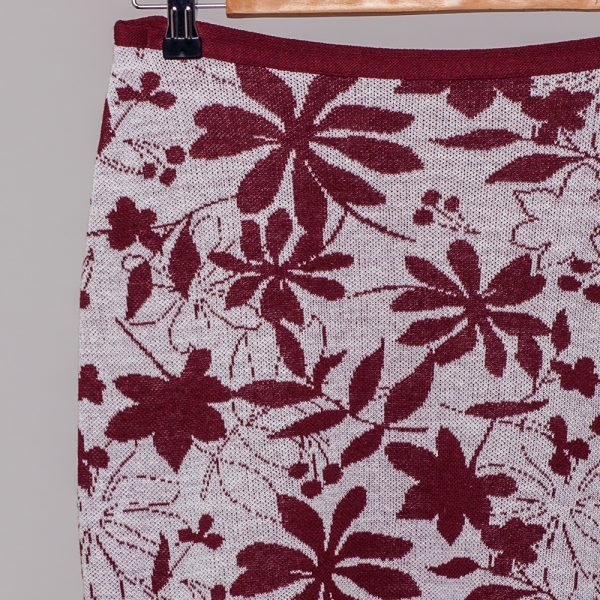 Magaly jacquard knit linen ligth pink skirt bordo