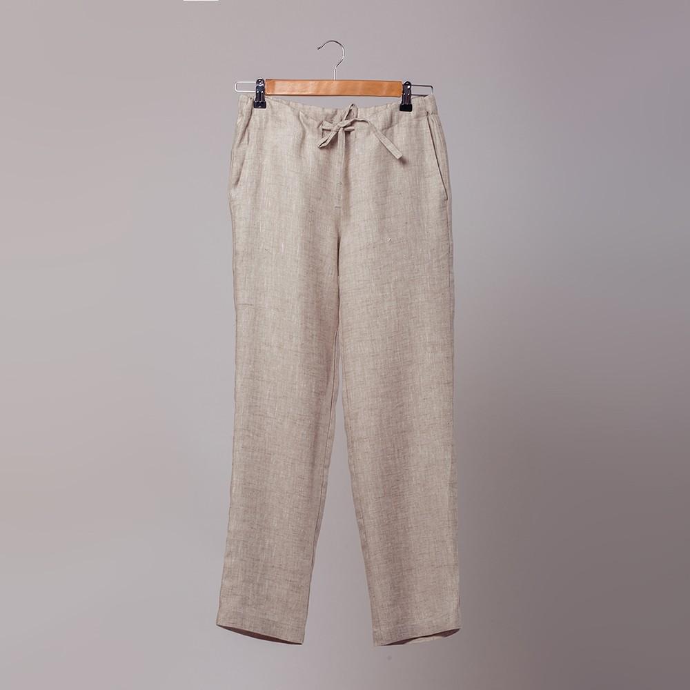 Marine серые льняные брюки на шнурке