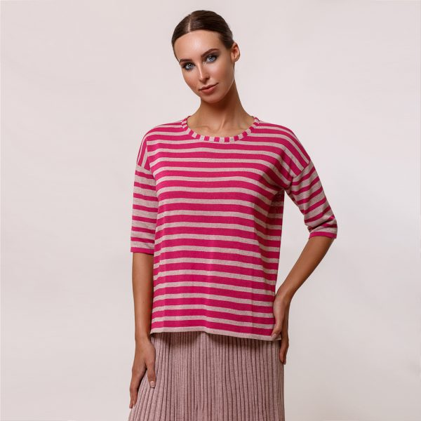 Lotta O-neck stripe pink knit top