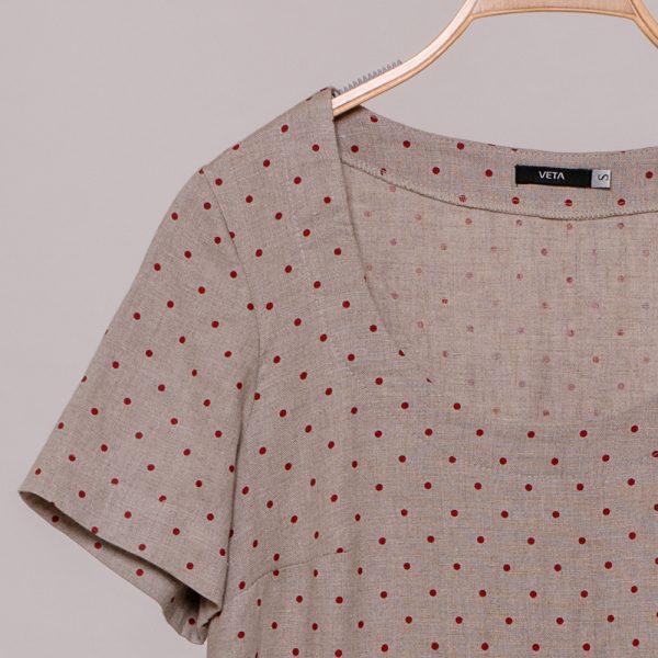 Sivilia linen dots (bordo) print dress natural