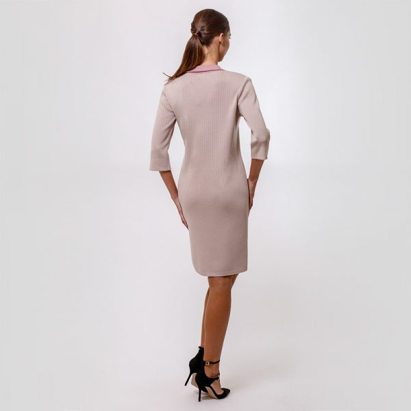 Amaia light beige color dress with contrast trims