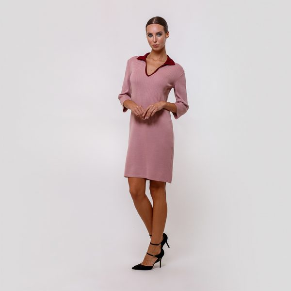 Amaia pink color dress with contrast trims