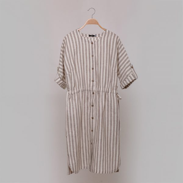 Damira pure linen dress with stripes