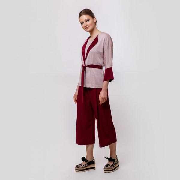 Varvara knitted jacket with belt pink