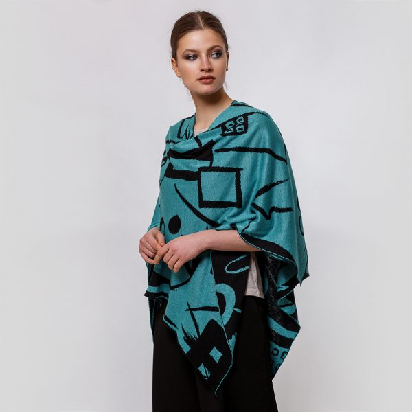 Skarlet linen with geometric pattern poncho turquoise-black
