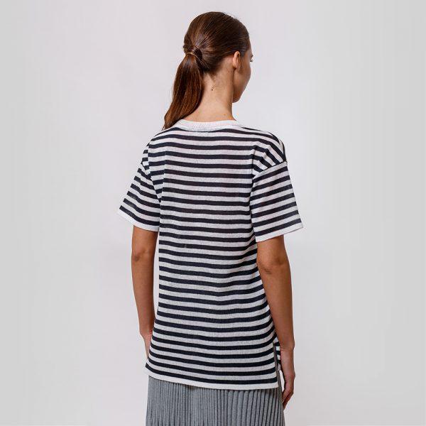 Veronika pure linen dark blue stripe knit top