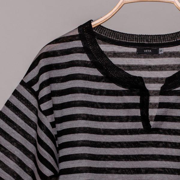 Veronika pure linen black stripe knit top
