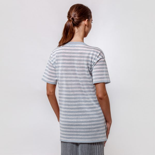 Veronika pure linen ligth blue stripe knit top