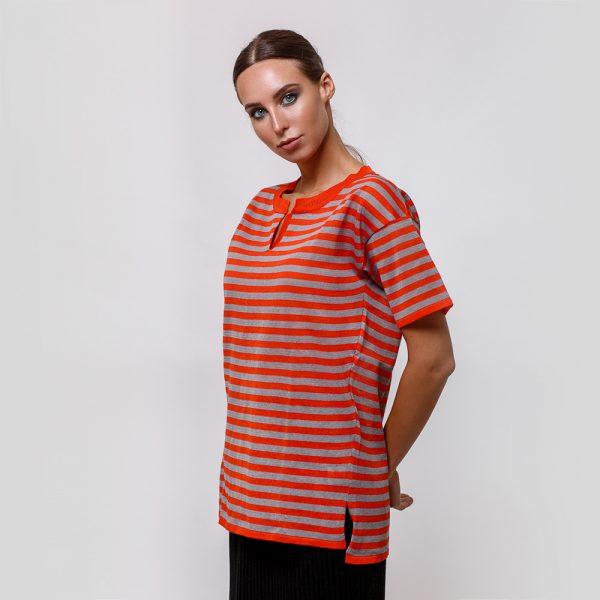 Veronika pure linen orange stripe knit top