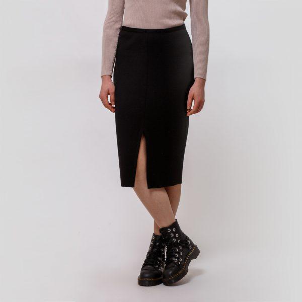 Ruta wool knit pencil skirt black