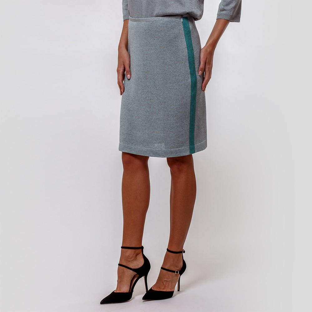 Jenna knit skirt with contrast side band mint green