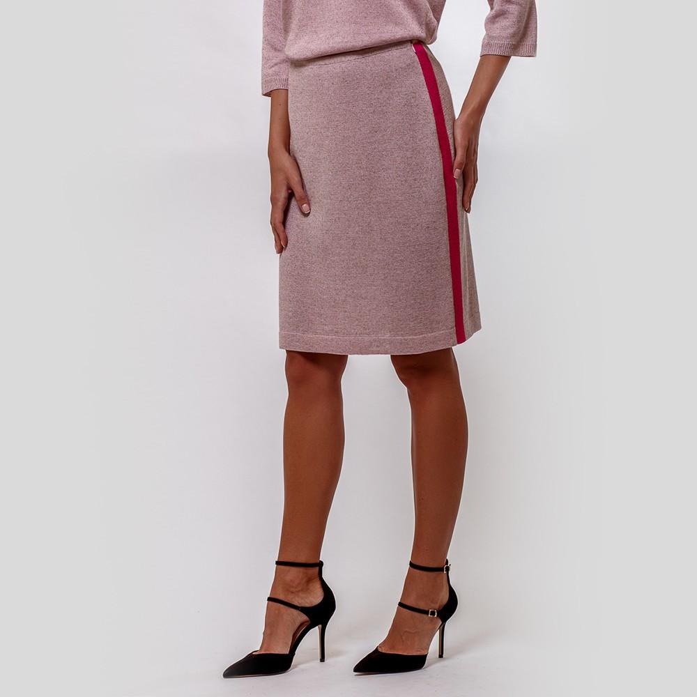 Jenna knit skirt with contrast side band light pink