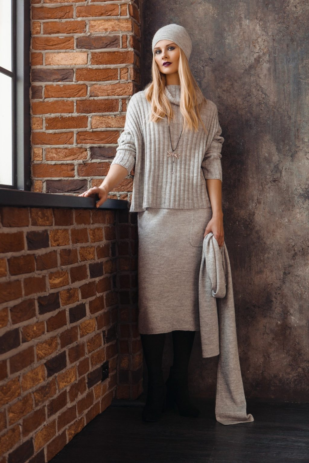 Dolores wool midi gray skirt