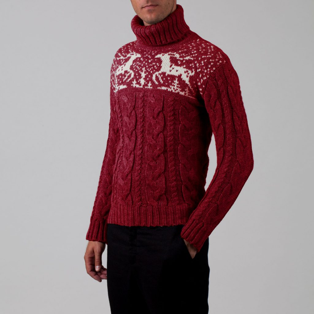Silvester unisex wool blend cable sweater bordo
