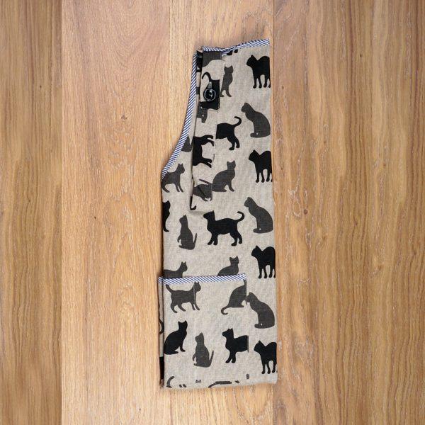 Cats shadows print linen apron