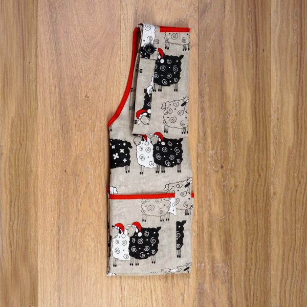 Christmas sheeps print linen apron