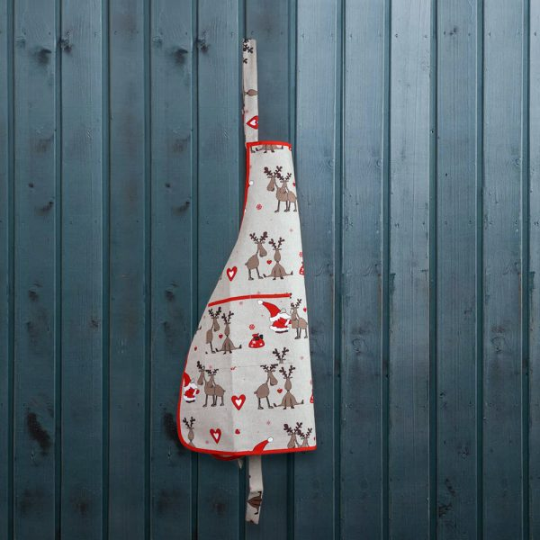 Santa & Deers print linen apron