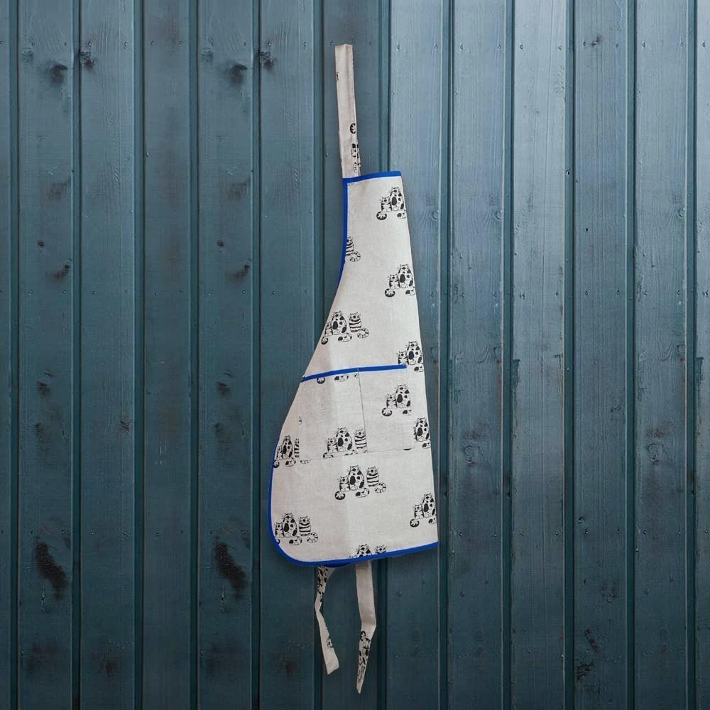 Three cats print linen apron