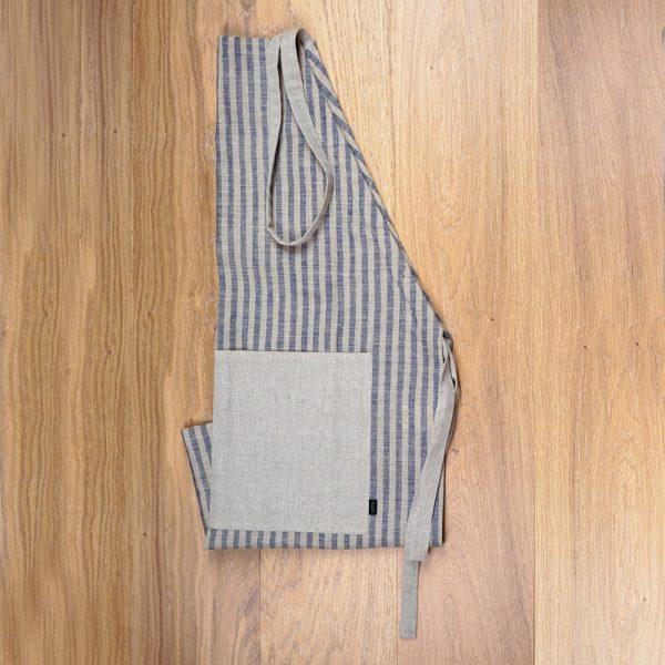 Striped print blue linen apron