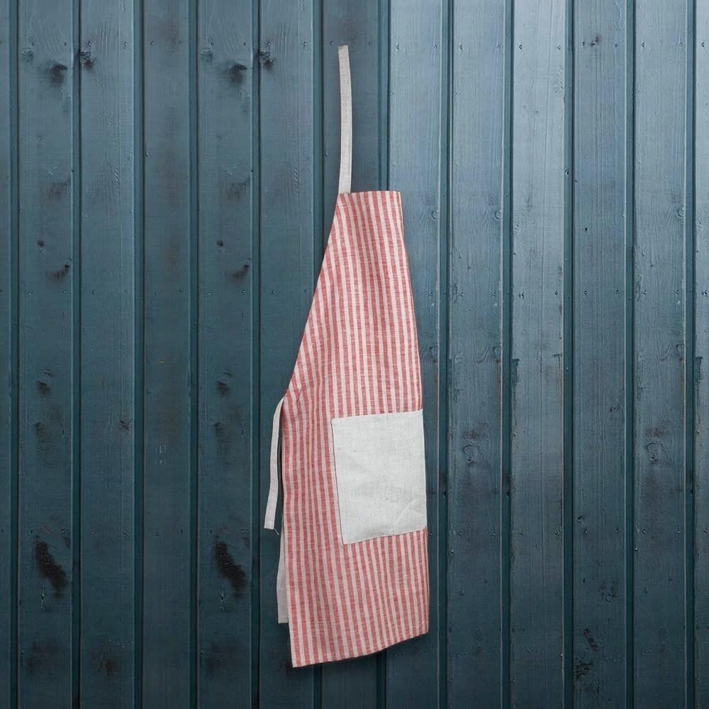 Striped print red linen apron