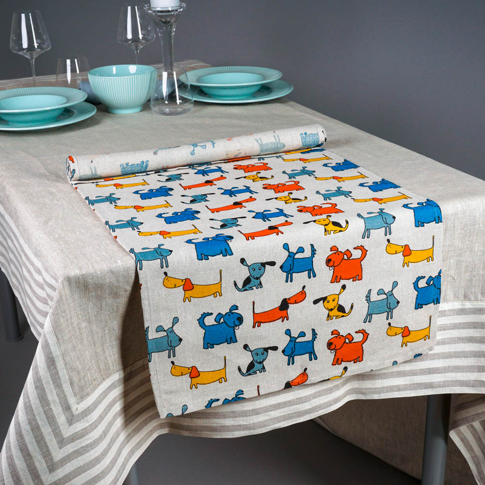 Bright Dogs Print Table Runner