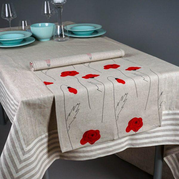 Poppies Print Table Runner