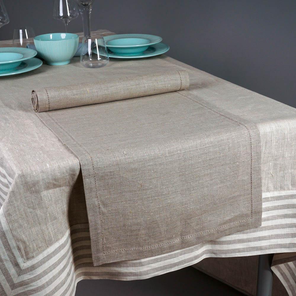 Broderi Linen Table Runner dark natural gray