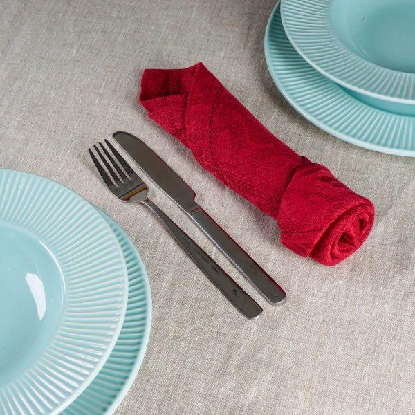 Pilutatud žakaar linane salvrätik punane