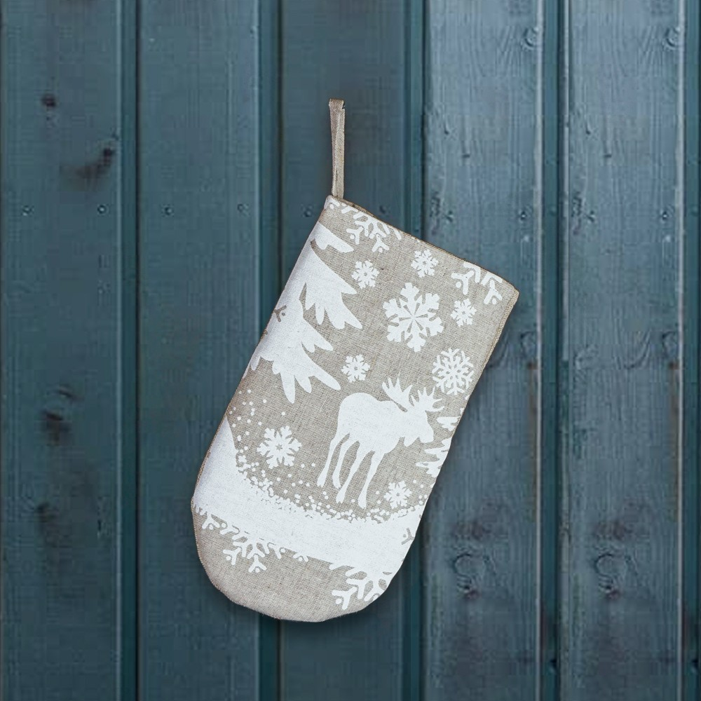 Christmas forest print linen oven mitten