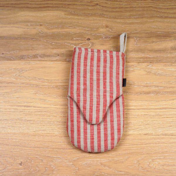 Льняная рукавица-прихватка с полосатым принтом