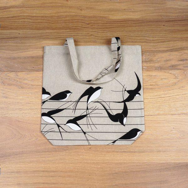 Birds print linen shopping bag