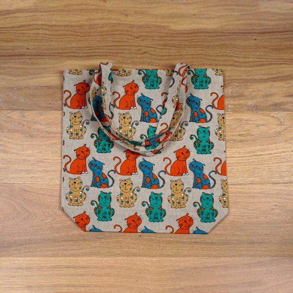 Bright cats print linen shopping bag