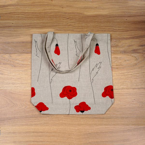 Poppies print linen shopping bag