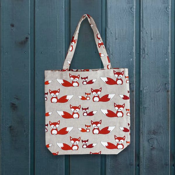 Fox print linen shopping bag