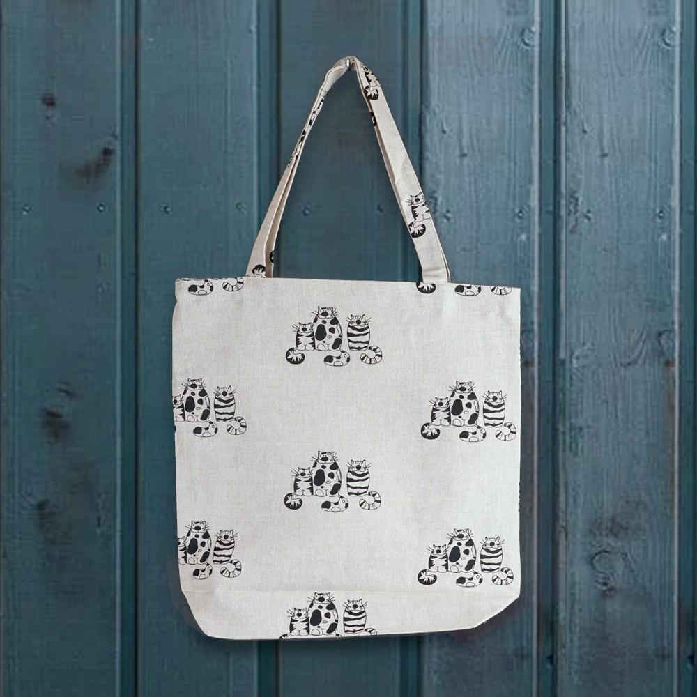 Three cats print linen shopping bag