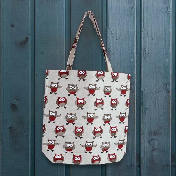 Owl print linen shopping bag