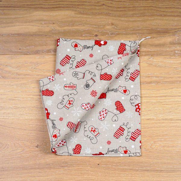 Льняное полотенце с принтом «Рождественские рукавички»