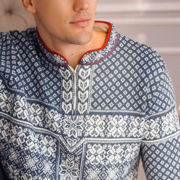 Berg zip-up high neck sweater with scandinavian jacquard knit blue white