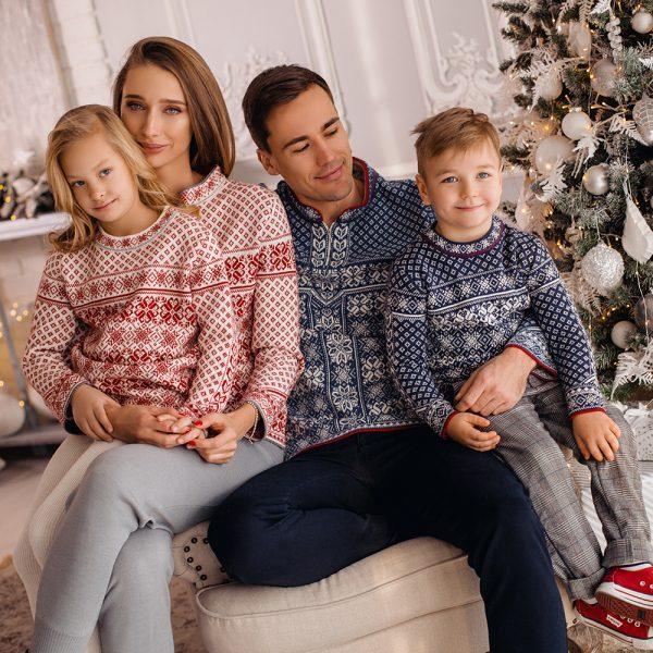 Skandinaavia žakaarmustriga villane sviiter