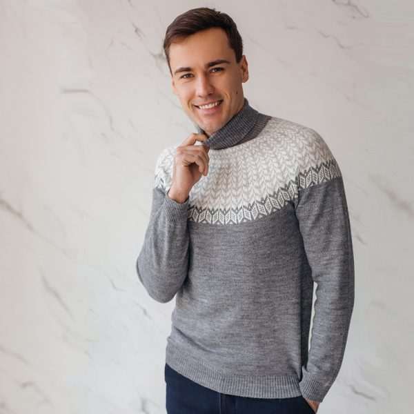 Lars seamless sweater with lopapeysa jacquard knit