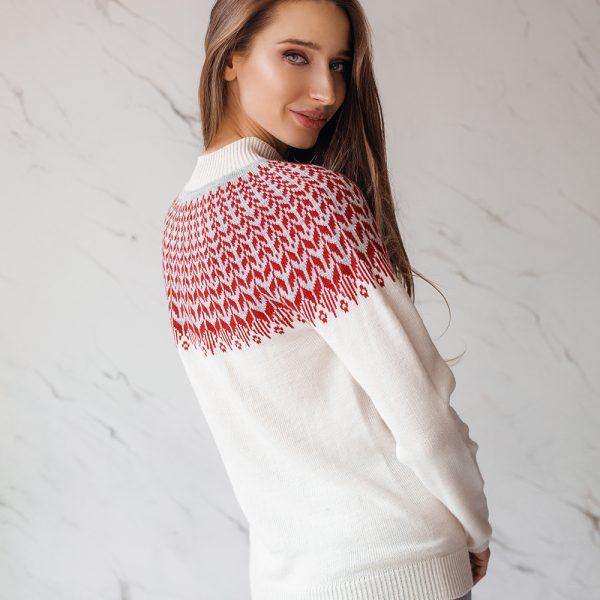 Ulla белый свитер без швов с жаккардовым узором