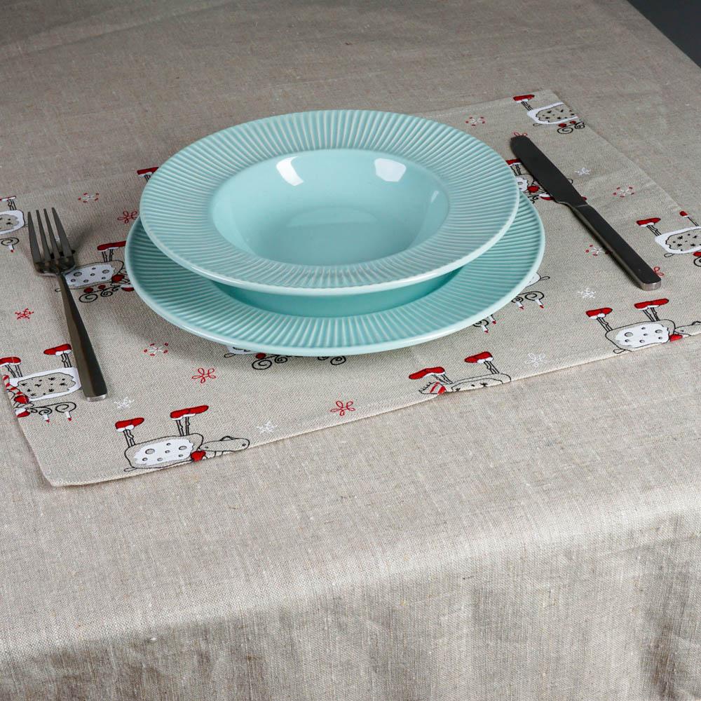 Christmas deers print linen placemat