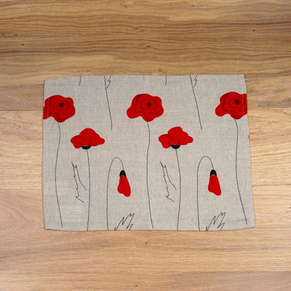 Poppies print linen placemat