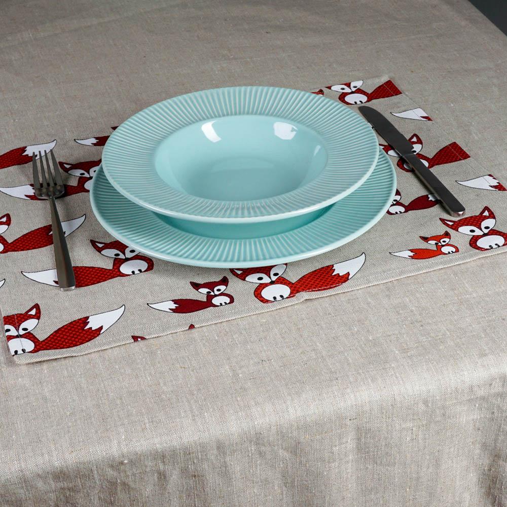 Fox print linen placemat